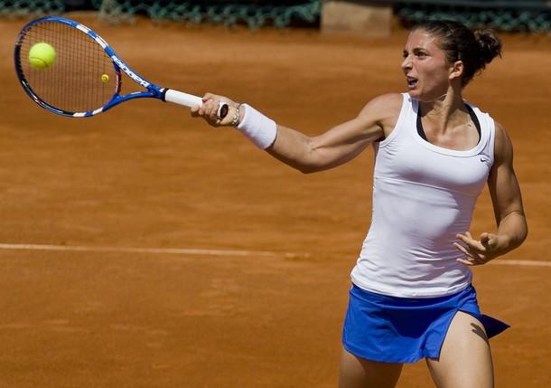 Italian tennis player Sara Errani return